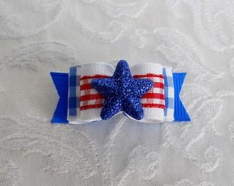 "5/8"" Blue Star Plaid Double Loop Dog Bow"