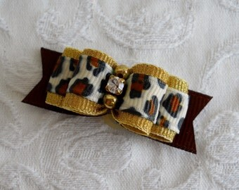 "5/8"" Golden Leopard Dog Bow"