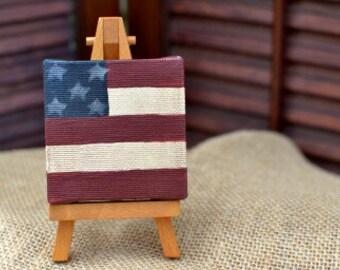 Primitive miniature flag canvas with easel