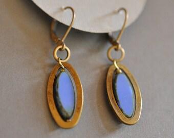 Bright Periwinkle Blue oval earrings