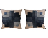 Blossom Modern Quilt Pillow in Denim and Natural Dyes