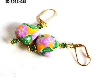 Earrings Handmade, Gold Earrings, Dangle Earrings, Polymer Earrings, Ready to Ship, Drop Earrings, Long Earrings, Statement Earrings
