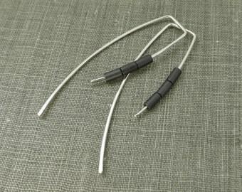 Sterling Silver Dangle Hook Earrings - Matte Grey Hematite Tube Beads - Simple Modern Minimal Beaded Wire Jewelry