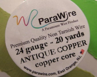 Antique Copper over Copper Core - 24 Gauge Wire from ParaWire - 20 yard Spool