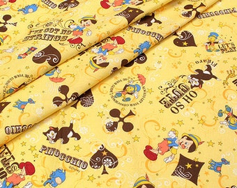 Disney licensed  fabric Pinokio Print  50 cm by 53 cm or 19.6 by 21 inches