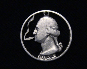 US - George Washington Puffing a Doobie - cut coin pendant - SILVER - 1944