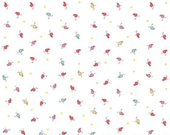 SALE!!  Riley Blake Butterfly Dance - Baby Caterpillars on white - Perfect backing for quilt panel