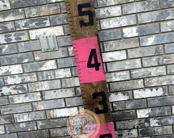 Growth Chart, Ruler Style, Distressed Bright Pink & Stain Stripe