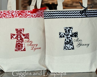 Fun colors personalized church mass tote bag flower girl baptism gift