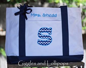 Personalized tote bag teacher bridesmaids flower girl gift chevron fabric