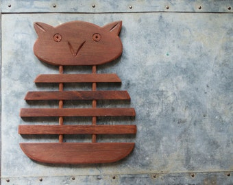 Vintage Owl Trivet | Wooden Hot Pad | Mid Century Kitchen | Table Decor | Surface Protection | Wood Trivet