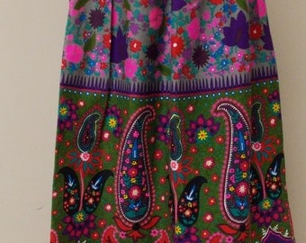 Colorful paisley floral geometric maxi vintage skirt S 4/6 ruched waist