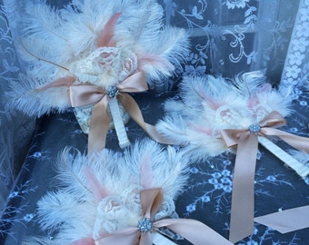 Ostrich Feather Fans - Vintage, 20s weddings, historical, costume