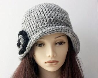 Gray Flapper Cloche Hat with Flower,  Flapper Hat, Wool Winter Hat