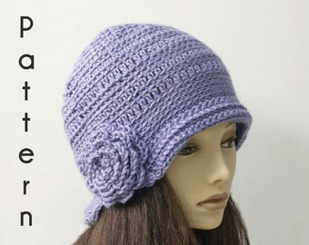 Flapper Hat Crochet Pattern, Instant Download, 1920's Cloche Hat PDF Pattern, Flower Hat Pattern