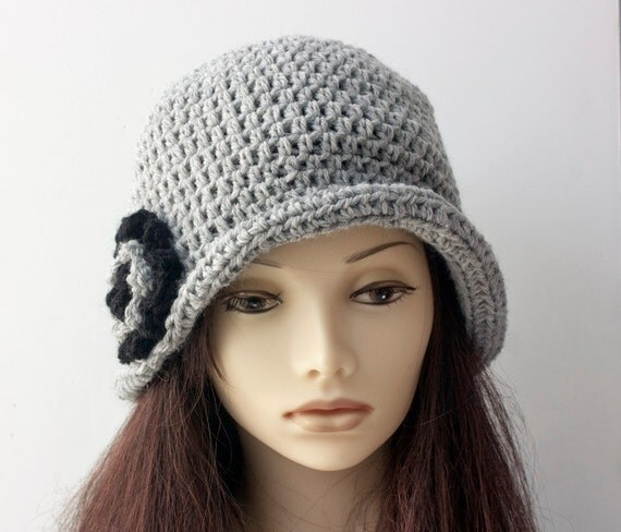 Gray Flapper Cloche Hat With Flower Flapper Hat Wool Winter