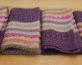 set of 4 handwoven cloth napkins: plum + stripes