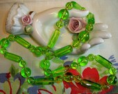 Vintage 1940s Green Lucite Bead Necklace