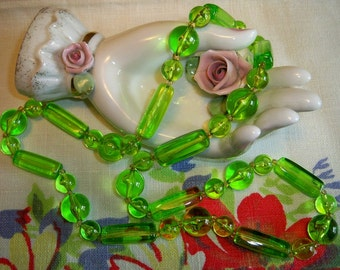 SALE! Vintage 1940s Green Lucite Bead Necklace