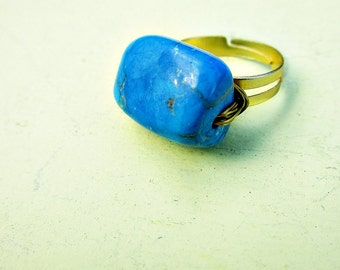 Deep Turquoise Blue Stone on Small Adjustable Wire Wrapped Gold Plated Ring: Aegea