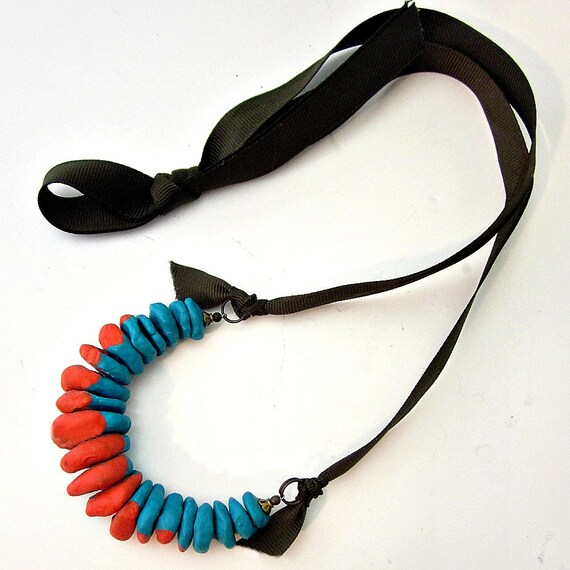 Adjustable Turquoise and Bright Orange Paper Mache Beaded Necklace with Brown Ribbon: Isla WAS 26.00