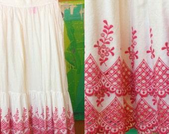 Bohemian Escada Embroidered Lace Cutout Skirt