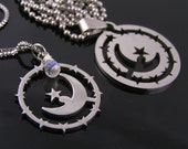 Matching Couple Necklaces with Crescent Moon and Stars, Boyfriend Girlfriend Jewelry, Partner Necklace with Matching Pendants, Moonstone