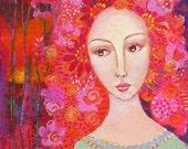 Abundance. Art print from my mixed media painting, wall art, A4