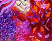 Warm Hearts. Art print from my mixed media painting, wall art, A4