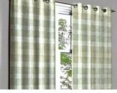 Vintage Linen Beige Plaid Grommet Blackout Lined Curtain Textured Jacquard Weave Fabric Housewares Window Treatment Drapes Curtain Panels