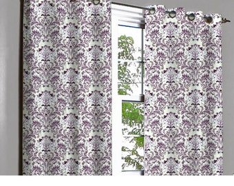 Soul Purple & Silver Damask Grommet Lined Curtain in Textured Jacquard Weave Fabric Decor and Houseware Window Treatment Drape Curtain Panel
