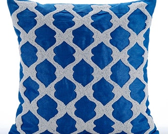 "Royal Blue Pillow Cases, 16""x16"" Silk Pillows Cover, Square  Beaded Lattice Trellis Pattern Arabic Theme Throw Pillows Cover - Blue Lagoon"