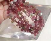 Brazilian Mostly Pink Tourmaline Briolette Beads Hammered Raw Rainbow Green QTY62 LAST Strand