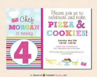 Pizza and Cookies - Little Chefs Baking Birthday Party Invitation (Digital File - Printed Cards Also Available)