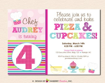 Pizza and Cupcakes - Little Chefs Baking Birthday Party Invitation (Digital File - Printed Cards Also Available)