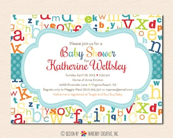 Colorful ABC Alphabet Baby Shower Invitation (Digital File OR Printed Cardstock Cards Also Available)