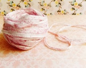Shell Pink Cream Speckled Mako Cotton Ribbon ~European dotted trim egyptian baby kids wedding hair bow band supply, gift wrap favor