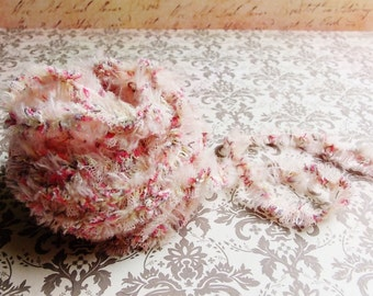 Blush Pink Tulle Tutu Lace Fringe Trim - mixed media fiber art supply, millinery, needlework, vintage style novelty edging, ruffle trimming