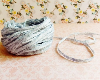 Seasalt Blue Cream Speckled Mako Cotton Ribbon ~European dotted trim egyptian baby kids wedding hair bow band supply, gift wrap favor