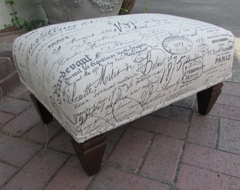FRENCH ottoman revenge chair script fabric tuffet/bench/seating furniture