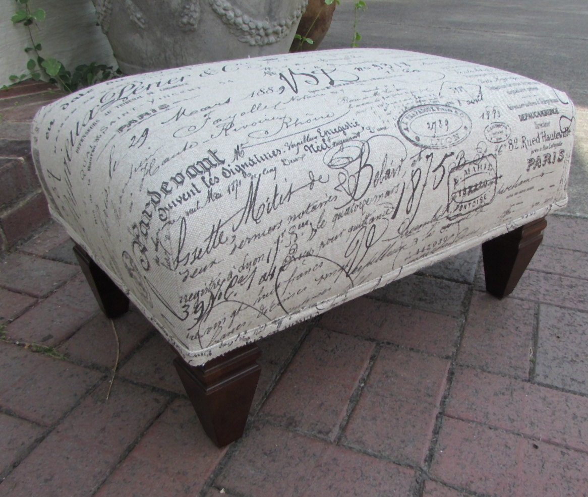 French Ottoman Revenge Chair Script Fabric