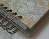 Greeting Card Organizer with Address Book and Birthday Reminder with Yellow and Gray Damask Cover