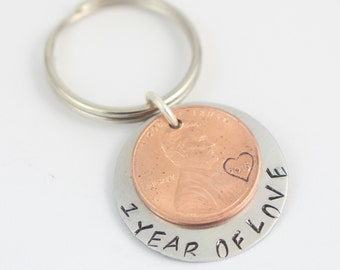 1 One Year Anniversary Penny Keychain - Handstamped Key Chain - Custom Key Ring - Key Fob - Christmas Gift