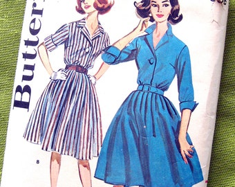 1960 Vintage Sewing Pattern - Shirtwaist Dress with Full Skirt Turned Back Cuffs - Mad Men - Butterick 9967 / UNCUT Bust 32