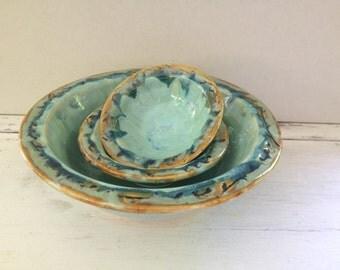 Three Bowl Set One of a Kind White Stoneware Aqua Glaze