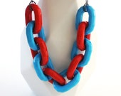 Turquoise & Red Chain Necklace -- Chunky Faceted Plastic Links -- Fun and Colorful Gumball Pendant -- UK Shop