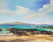 TROPICAL MAUI HAWAII 10x20 Original Oil Painting Art Paako Beach Secret Cove Ocean Island Paradise Palm Tree Hawaiian Holiday Wedding Makena
