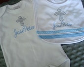 Jase Persinalized Baptism Gown/Bodysuit/Onesie and Bib with Cross embroidery -Name and/or up to 3 initials