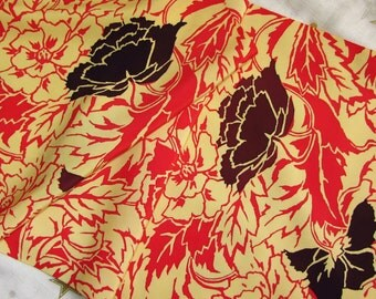 Vintage Japanese Kimono Silk Yuzen Dyed Big Retro Art Nouveau Style Peony Flowers 60ins