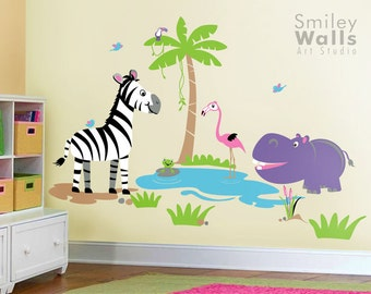 Safari Jungle Animals Wall Decal Set Hippo Flamingo Zebra Frog Nursery Kids Playroom Room Sticker, Safari Animals Wall Decal, Jungle Decal
